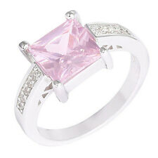 1Pc Silver Plated Pink Square Cubic Zirconia CZ Shiny Finger Ring Beamy