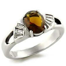 Sterling Silver Smoky Topaz Cocktail Ring Brown Stone Size 5 6 7 8 9 10