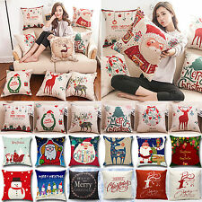 Christmas Xmas Santa Reindeer Snowman Pillow Case Cushion Cover Home Decorations