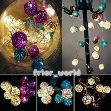 HOT 10/20LED Battery Operated Wicker Rattan Balls String Fairy Lights Bulb Lamps