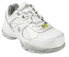 Nautilus Womens Steel Toe Athletic M White Leather Shoes