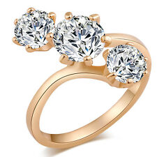 3 Row Circle Clear CZ Cute Rings Size6 7 8 9 Elegant Engagement Girls