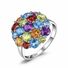 JewelryPalace Natural Amethyst Citrine Garnet Peridot Swiss Sky Blue Topaz Ring