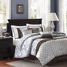 7pc silver/grey blue brown multi colored jacquard pattern comforter set