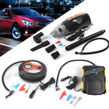 4in1 Portable In Car Vacuum Cleaner Tyre Air Pump Compressor Gauge LED Spotlight