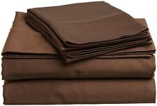 Luxurious 4-Piece Bed Sheet Set 1200 TC Egyptian Cotton Chocolate Solid