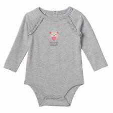 Jumping Beans 3 6 9 Months Owl Gray Long Sleeve Bodysuit Baby Girl Clothes