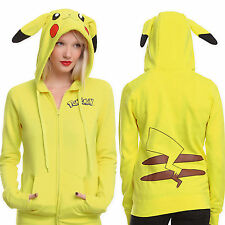 Anime Pokemon Pikachu Jacket Cosplay Ears Face Tail Zip Hoody Sweatshirt Hoodies
