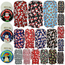 Girls Christmas Dress Santa Snowman Penguin Xmas Fashion Dresses With Free Badge