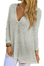 Cali Chic® Junior's Sweater  Celebrity Grey Hooded V-Neck Long Sleeve Loose Knit