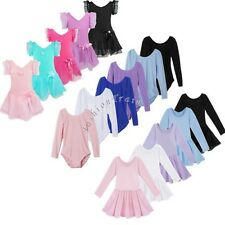 Girls Kids Gymnastics Long Sleeve Bodysuit Leotard Ballet Skirt Dancer Dresses