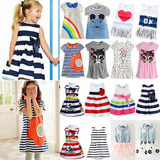 Kids Baby Girls Cartoon Summer Dress Casual Princess Prom Party Sundress Clothes