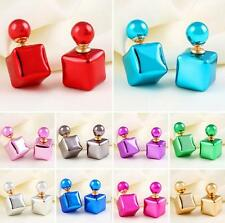 Candy Square Bead Statement Colorful Women 1 Pair Charm Earrings Jewelry Colors