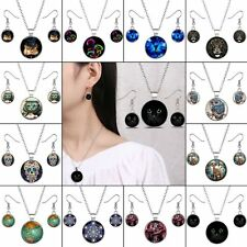 Wedding Silver Time Gem Photo Art Pendant Chain Necklace Earrings Jewelry Set