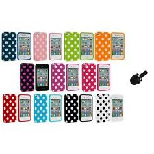 Polka Dot TPU Color Rubber Skin Case Cover+Mini Stylus for Apple iPhone 4 4S 4G