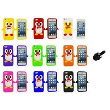 Penguin Cute Silicone Color Rubber Skin Case Cover+Mini Stylus for iPhone 5 5S
