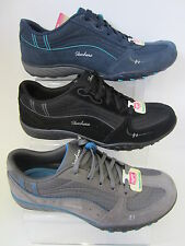Ladies Navy/Grey LaceUp Skechers Trainers With Memory Foam 22459 JUST RELAX