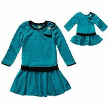 Dollie & Me Girl 4-14 and Doll Teal Black Drop Waist Dress Clothes American Girl
