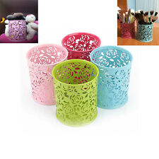 Metal Hollow Rose Flower Cylinder Pen Pencil Pot Holder Makeup Brush Storage Box