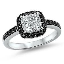 925 Sterling Silver Black & Clear CZ Wedding Love All size available Size 8 Ring