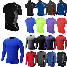 Mens Compression Baselayer Top Under Shirt Tight Sports Fitness Athletic T-shirt