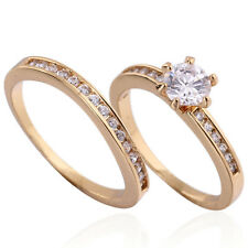 Forever 18K Gold Filled Rhinestone CZ Wedding Thin Band Couple Rings Size 8