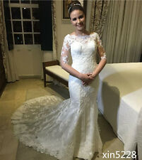 Lace Vintage Wedding Dress Half Sleeve Pearl Sweep Train Arabic Bridal Gown 2017