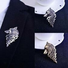 Vintage Wolf Badge Brooch Lapel Pin Men Shirt Suit Collar Stick Gift Jewelry