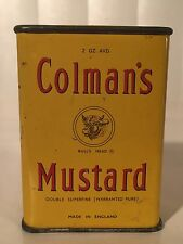 Vintage 1950s FULL Colman's Mustard Metal Spice Tin 2 oz Made In England Box