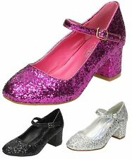 Girls Spot On Dolly Style Glitter Heel Buckle Fastening Wedding Prom Party Shoes