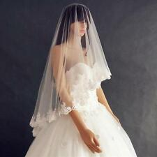 New bridal veil ivory white 1T lace edge wedding vail Bridal Accessories