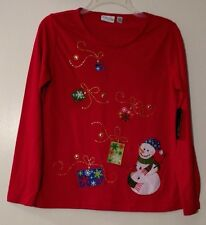 Womens Tops Red Kim Rogers Snowmen Hats Sequins Snowflakes Embroidery NWT PM PS