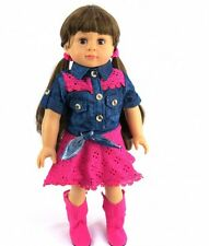 """Doll Clothes AG 18"""" Western Pink Crochet Skirt Top Jean Fits American Girl Doll"""