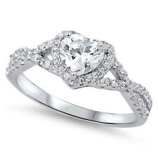 925 Sterling Silver Engagement Heart Clear CZ All Sizes available Size 7 Ring