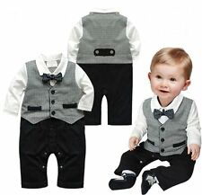Baby Boy Wedding Christening Tuxedo Formal Party Suit Outfit Clothes NEWBORN-12M