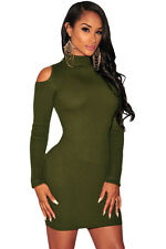 Olive Knit Ladies Ribbed Cut out Cold Shoulder Long Sleeves Bodycon Party Dress