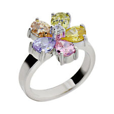 Sterling Silver Pear CZ Cubic Zirconia Floral Women's Engagement Wedding Ring