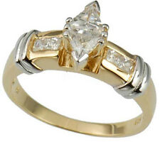 Trillion CZ Gold Plated Sterling Silver Jewelry Women Wedding Engagement Ring