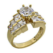 Gold Plated Sterling Silver Cubic Zirconia Jewelry Women Wedding Engagement Ring