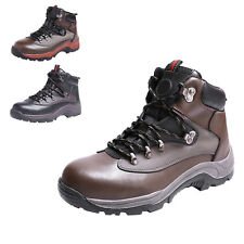 STO Mens Boys Leather Safety Shoes Warm Steel Toe Ankle Anti Puncture Work Boots