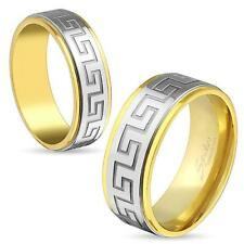 316L Stainless Steel Mens Greek Key Center Gold Band Ring All Sizes U Pick Ring
