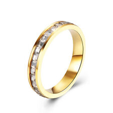14K Gold Plated Square CZ Thin Wedding Band Ring Size 8 9 Unisex Lovers Ring