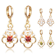 Fashion Triangle Crystal Love Flower Gold Filled Womens Dangle Hoop Earrings