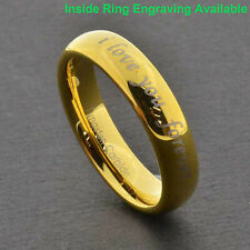 "Tungsten Carbide Gold GP ""i Love you for ever and ever"" Etch Womens Wedding Ring"