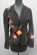 SUGAR LIPS Black Floral Embroidered Cotton Two Button Corduroy Jacket Sm AA1163