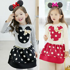 Kids Girls 2Pcs Minnie Mouse Polka Dots T-shirt Top Skirt Outfit Set Party Dress