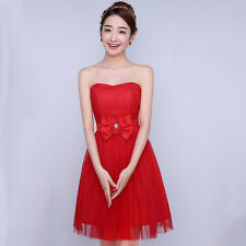 Strapless Women Mini Dress Wedding Bridesmaid Formal Gown Bowknot Lace Flower