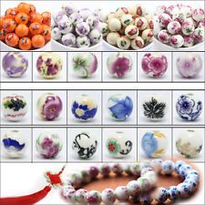 10-20Pcs Flower Printed Round Ceramic Porcelain Charms Loose Spacer Beads 12mm