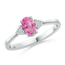 Oval Pink Sapphire Solitaire Ring Diamond Accents 14k White Yellow Gold Size 6
