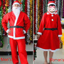 Christmas Santa Claus Cosplay Costume Mens Womens Xmas Party Outfits Fancy Dress